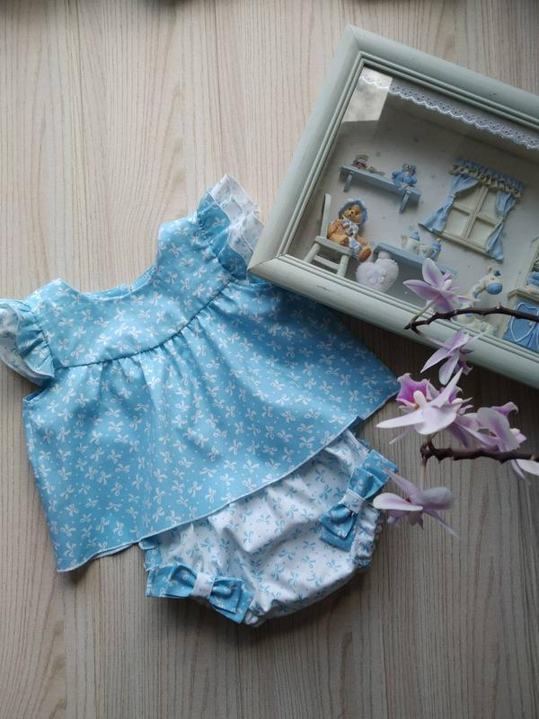 Летний комплект блумеры и блуза натуральный хлопок