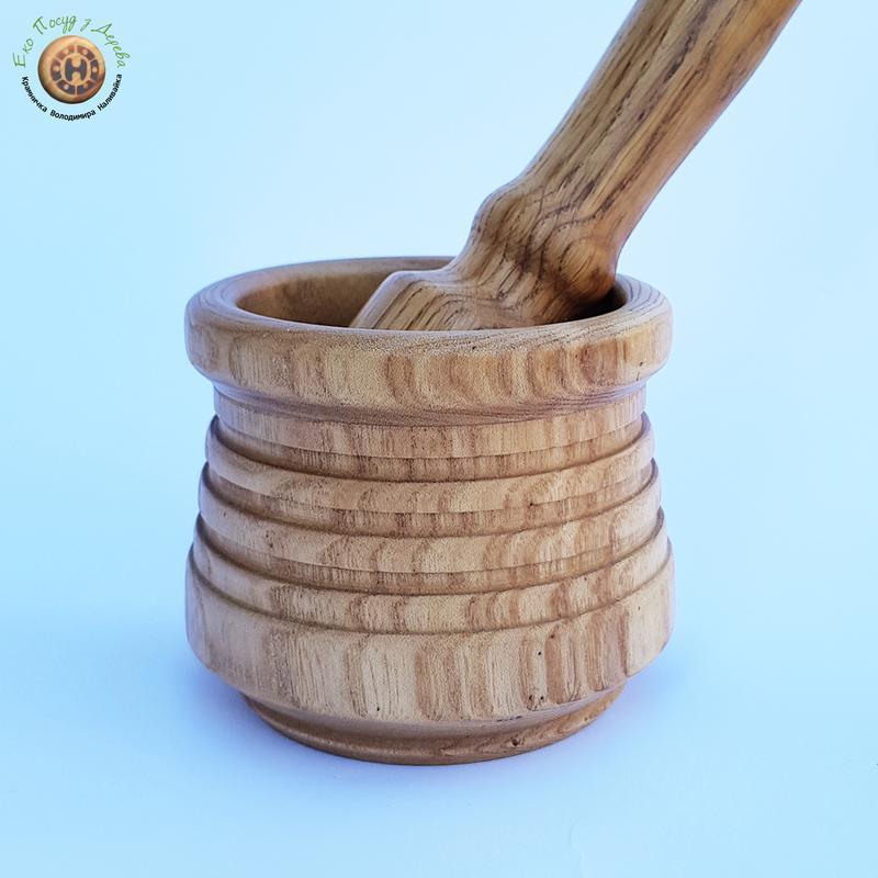 Деревянная ступка и пестик из ясеня