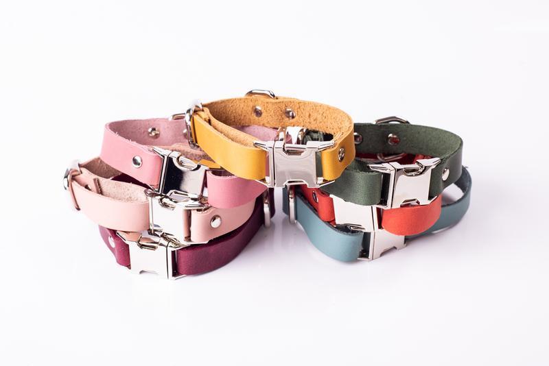 Іменний нашийник для собаки з натуральної шкіри, на вибір 14 кольорів 0184
