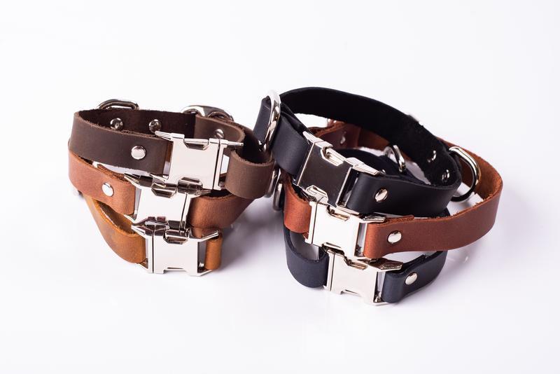 Нашийник для собаки з натуральної шкіри, на вибір 14 кольорів і 4 розміру 0184