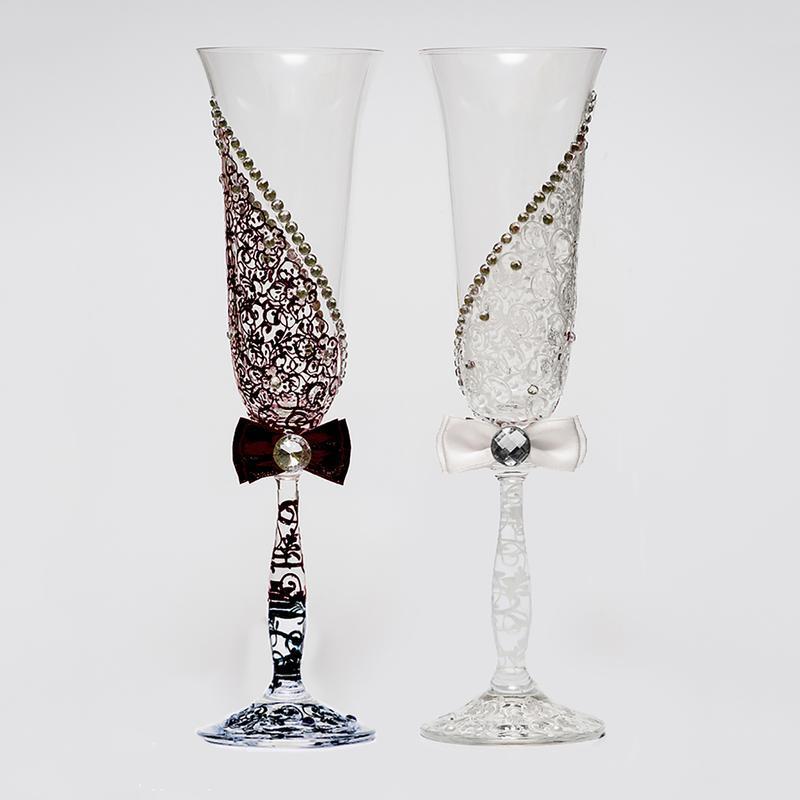 Свадебные черно-белые бокалы (арт. WG-021)