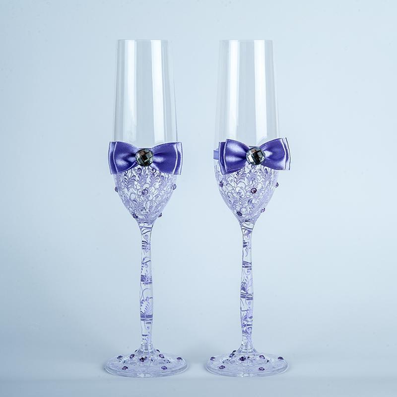 Свадебные бокалы с фиолетовыми узорами (арт. WG-313)