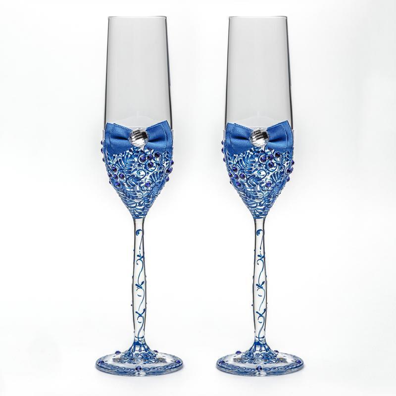 Свадебные бокалы с синими узорами (арт. WG-306)