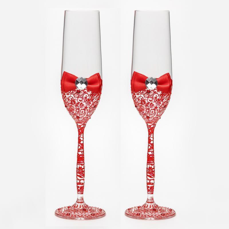 Свадебные бокалы с красными узорами (арт. WG-305)