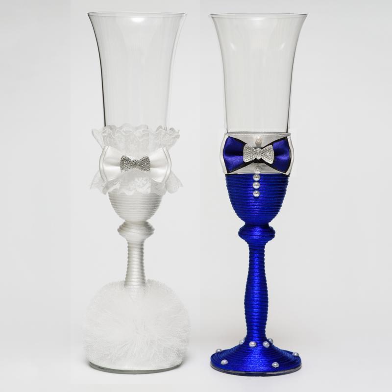 """Свадебные бокалы """"Жених и невеста"""" бело-синие (арт. WG-206)"""
