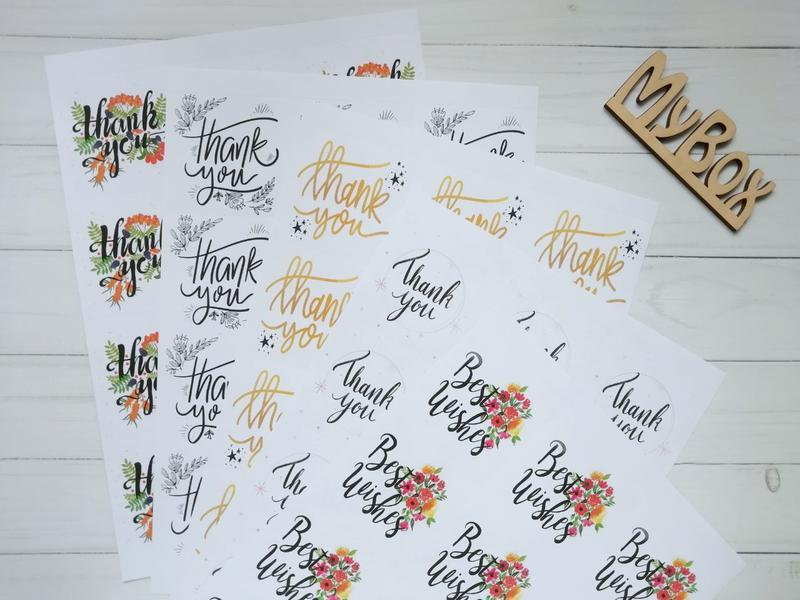 """Наклейки """"Thank you"""" 12шт/лист"""