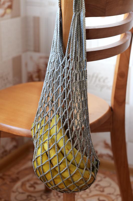 Вязаная сумка авоська оливковая из 100% органического хлопка