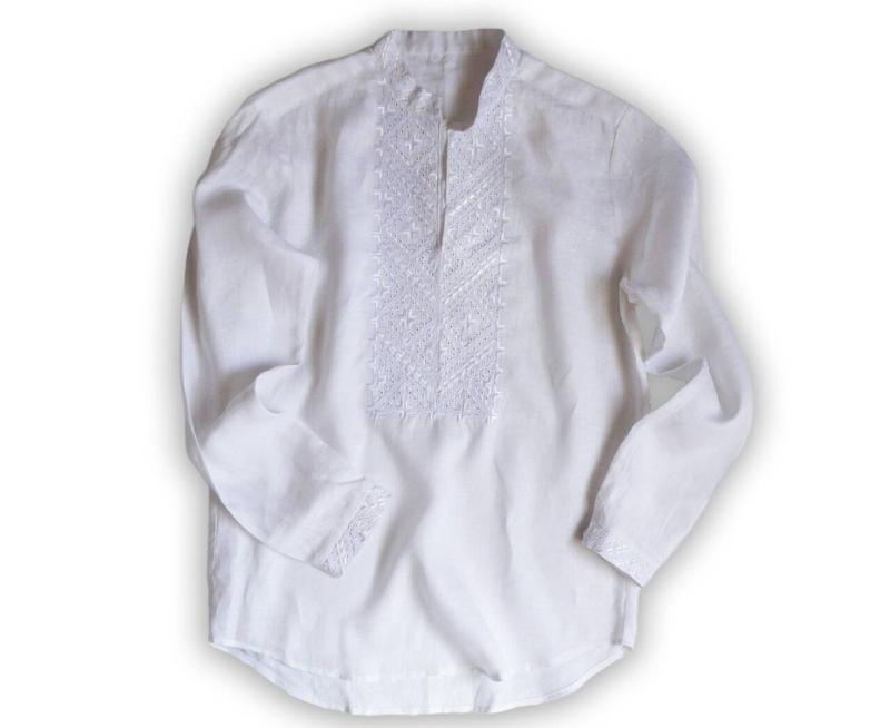 Вышиванка мужская с белой вышивкой на белом льне