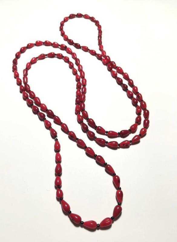 Бусы длинные из Коралла, натуральный камень, цвет красный и его оттенки, тм Satori \ Sk - 0019