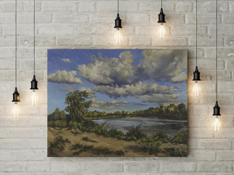 """Картина маслом """"Ясный день"""" 35х45 см, холст на подрамнике, масло"""