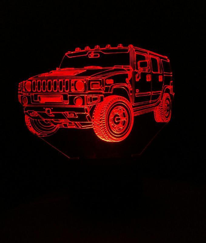 3d-светильник Джип хаммер, Jeep, Hummer, 3д-ночник, несколько подсветок, подарок автолюбителю