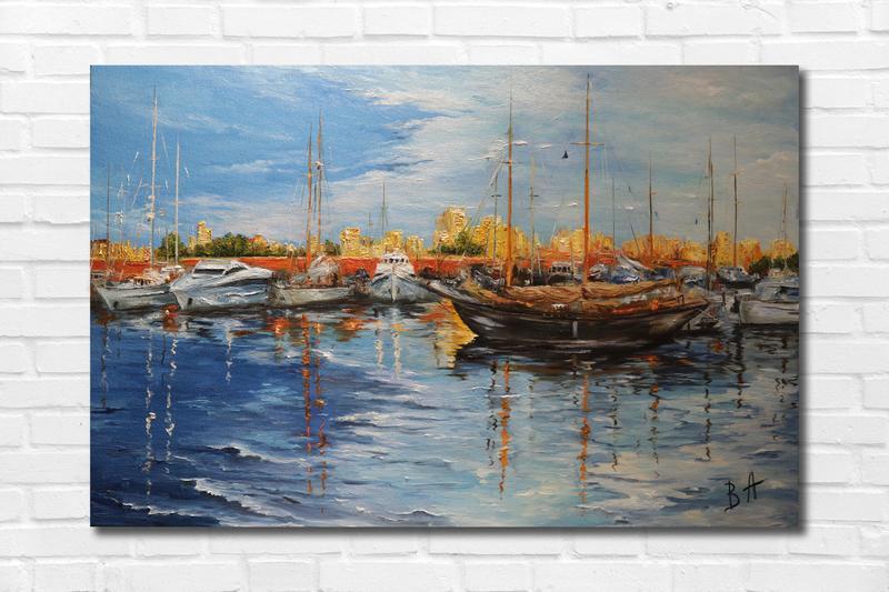 """Картина маслом """"Яхт-клуб"""" 40х60 см, холст на подрамнике, масло"""