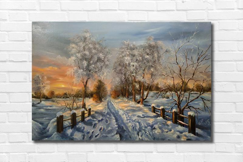 "Картина маслом ""Зима"" 30х45 см., холст, масло"
