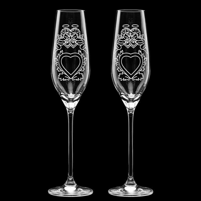 Свадебные элитные бокалы с гравировкой и стразами Swarovski (арт. S5)