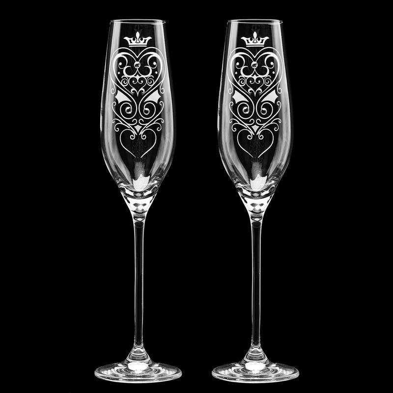 Свадебные элитные бокалы с гравировкой и стразами Swarovski (арт. S11)