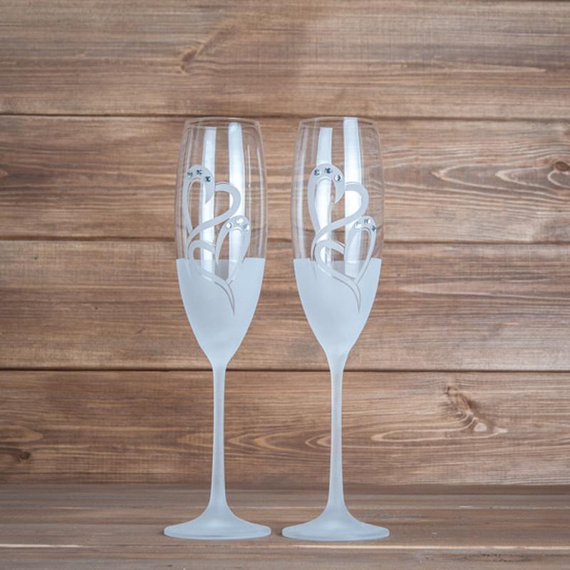 Свадебные элитные бокалы с напылением и стразами Swarovski (арт. WG-102)