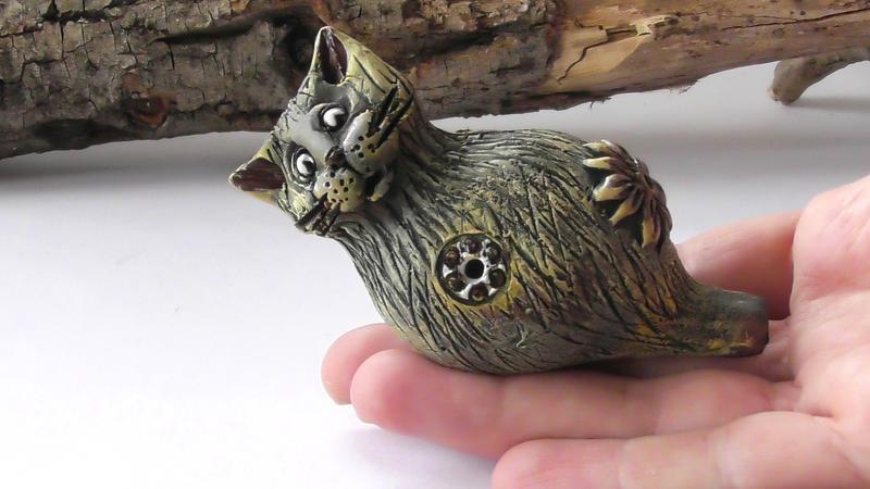 Свистулька кошка этнический инструмент