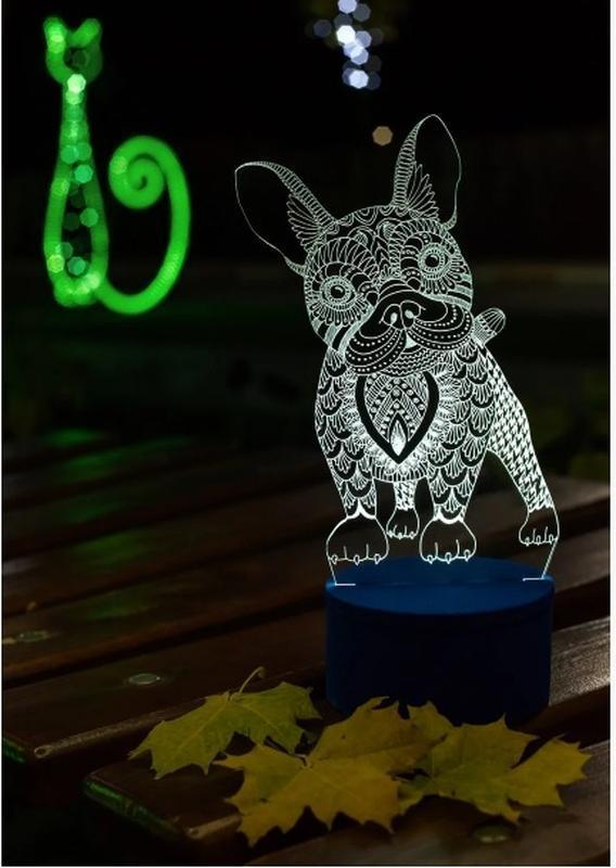Французский бульдог, ночник лампа светильник, в спальню, подарок на день рождения, собачка