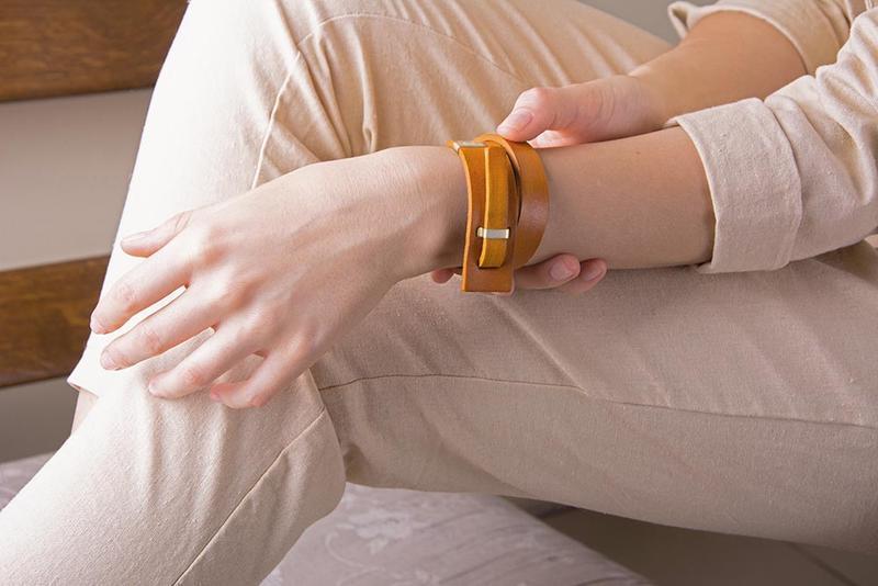 Кожаный браслет LUY N.2 два оборота (желтый). Браслет из натуральной кожи