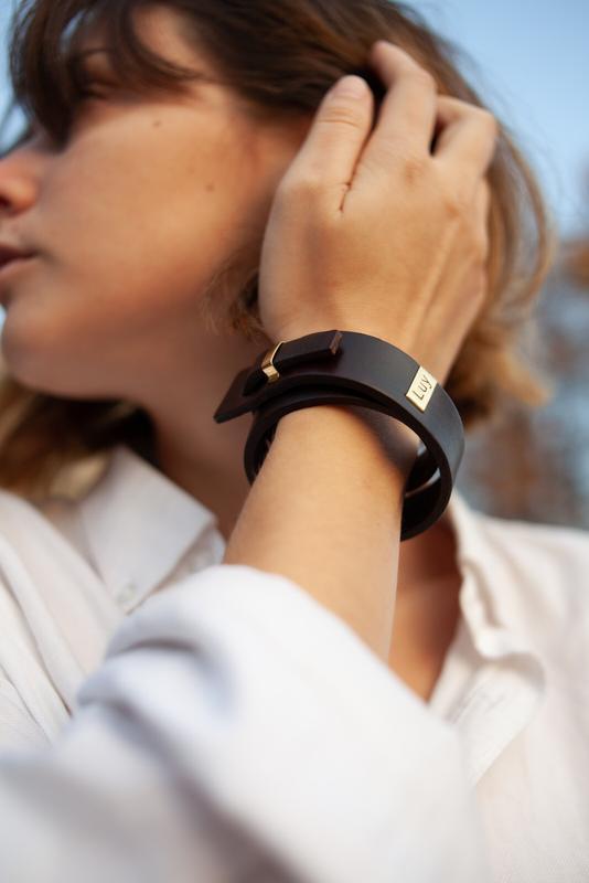 Кожаный браслет LUY N.2 два оборота (серебро). Браслет из натуральной кожи