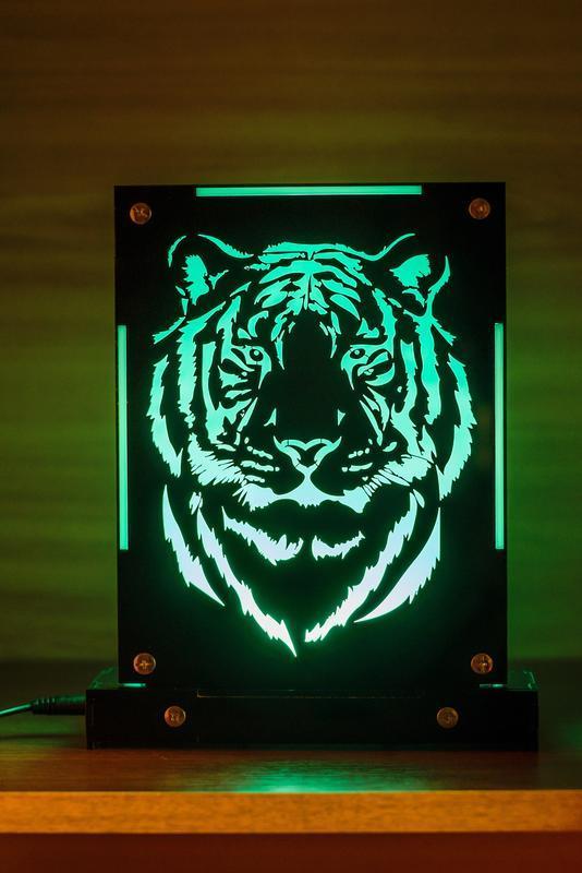 Декоративный настольный ночник Тигр, теневой светильник, несколько подсветок