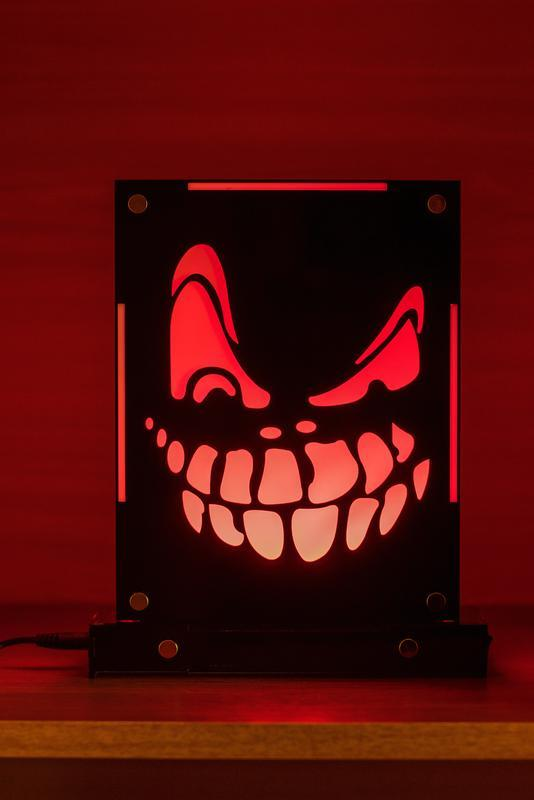Декоративный настольный ночник Маска Злая ухмылка, теневой светильник, несколько подсветок