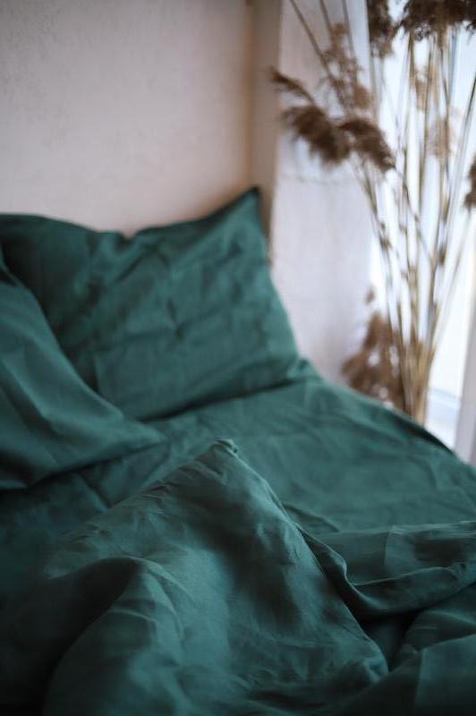 """Постільна білизна з натурального льону """"Луг"""",постельное белье из льна, льняное зеленое постельное"""