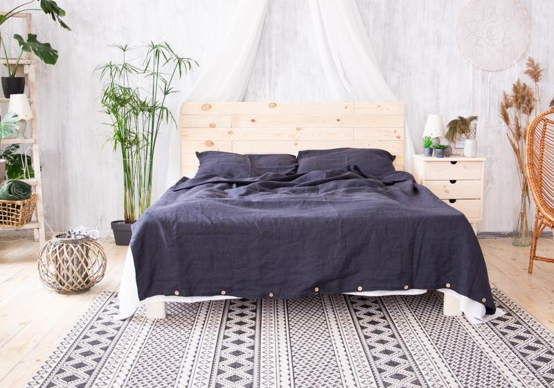"""Постільна білизна з натурального льону """"Графіт"""",льняное постельное белье,постельное из льна"""