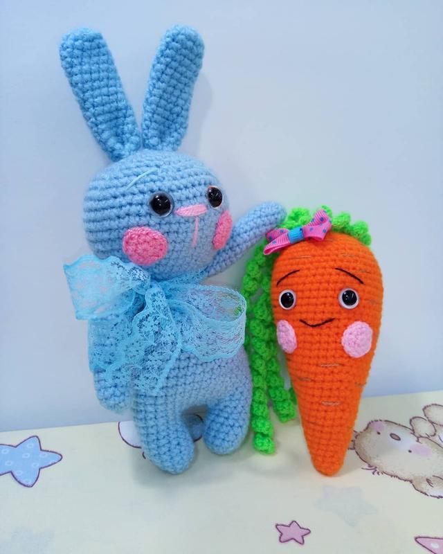 Новая Мягкая игрушка Prezzzent Зайчик и морковка