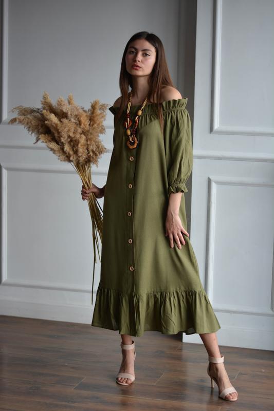 Оливкове лляне плаття з відкритими плечима OLIVE PEASANT DRESS