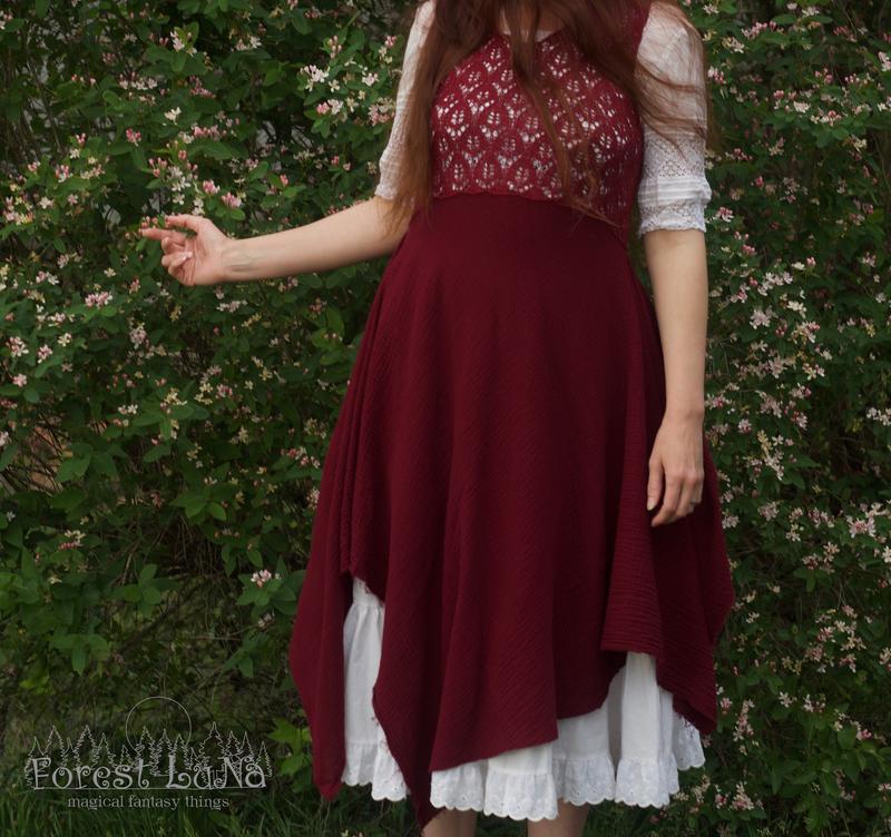 Дизайнерское асимметричное платье марсала в стиле Бохо