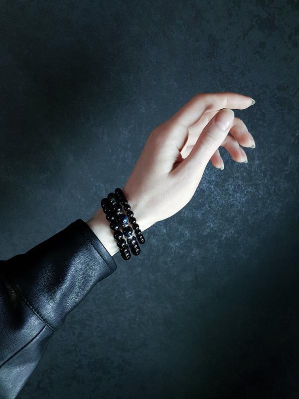 Мужской браслет из натурального камня и серебра 925п покрытого родием
