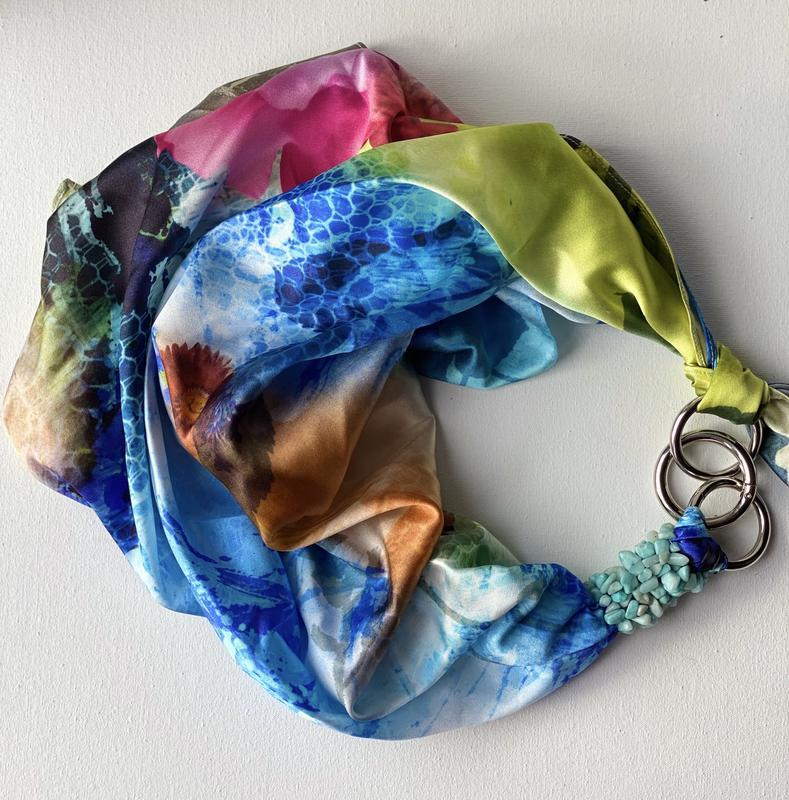 """ Голубая лагуна ,, 100% шелк, шелковый шарф, шелковый платок, шарф-ожерелье, шарф-чокер"