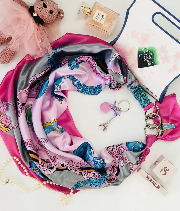 """""""Розовые сны """", Атласный платок My Scarf, шейный платок, подарок женщине"""