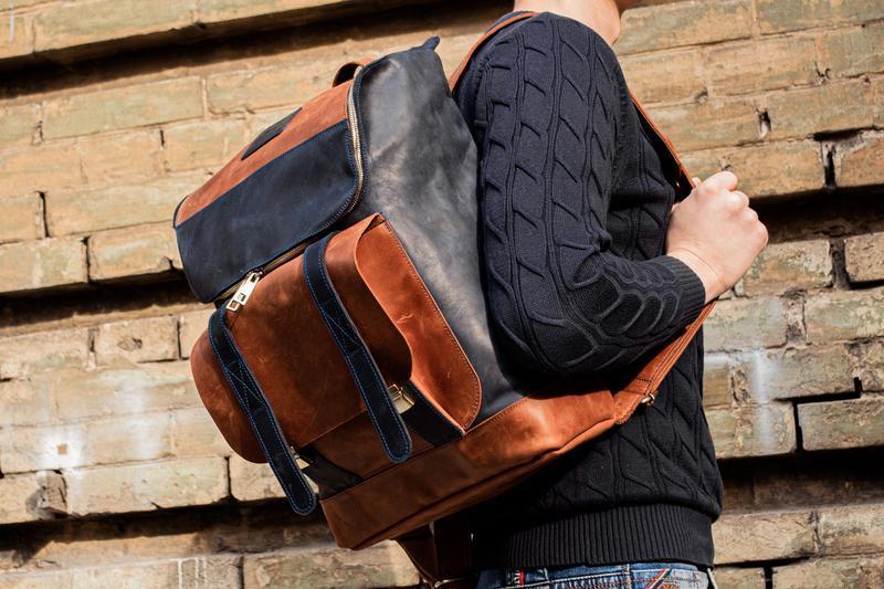 Городской кожаный рюкзак для ноутбука, Мужской рюкзак