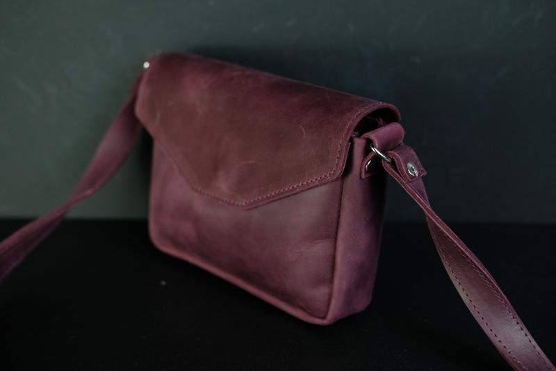 Кожаная сумка, сумочка Лилу, кожа Crazy Horse, цвет Бордо