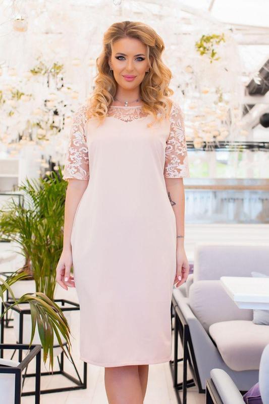 Платье батал nobilitas 52 - 58 розовое костюмная ткань (арт. 20022)