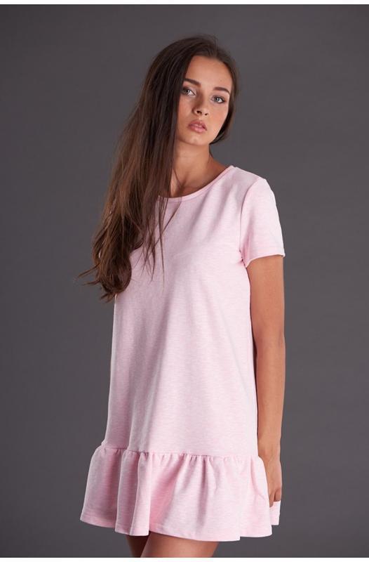 Розовое трикотажное платье, размер S