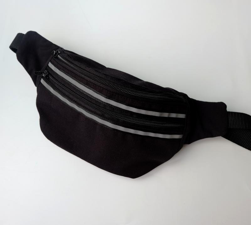 Сумка-бананка черная унисекс, поясная сумка, нагрудная сумка 18(1), барстека на пояс