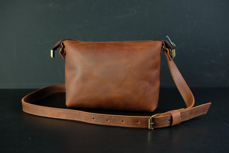 Кожаная сумка, сумочка Лето, кожа Crazy Horse, цвет Коньяк