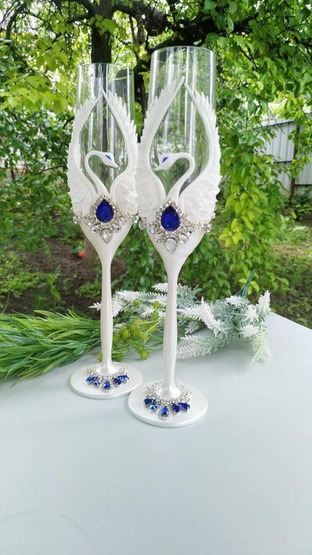"""Свадебные бокалы """" Лебеди"""" в белом перламутре и синем"""