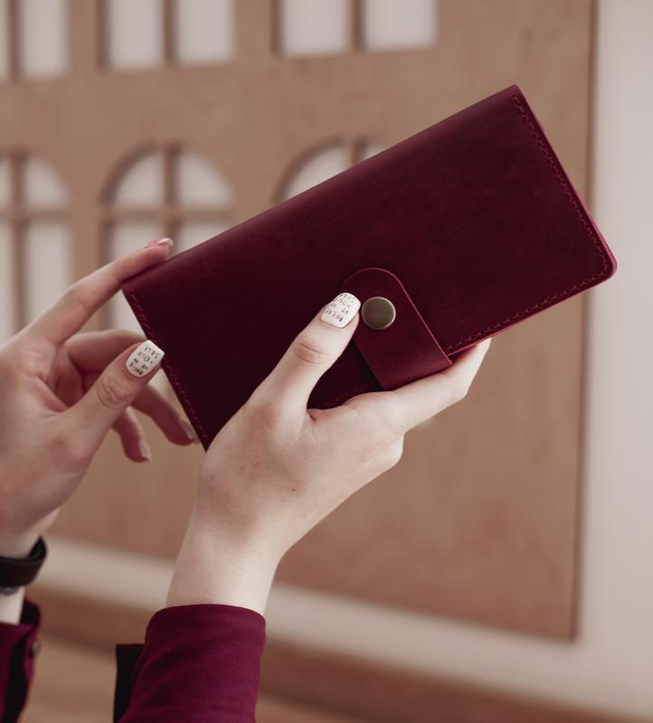 Большой женский кошелек из винтажной кожи_марсала