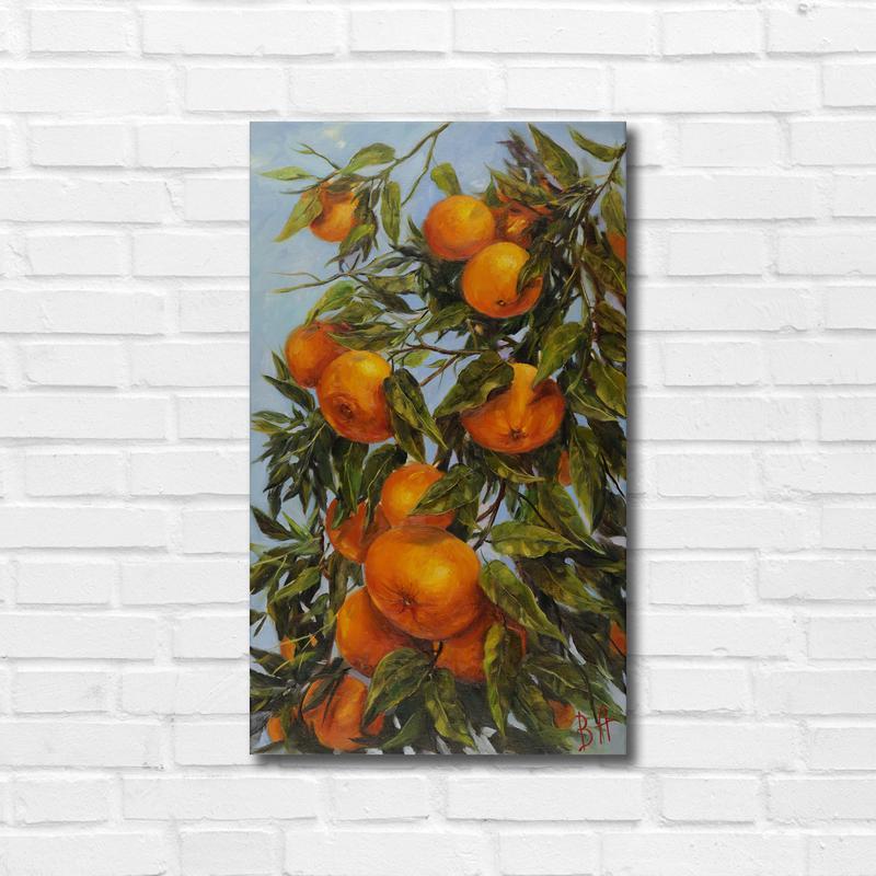 """Картина маслом """"Медовые мандарины Флориды"""" 50х30 см, холст на подрамнике, масло"""
