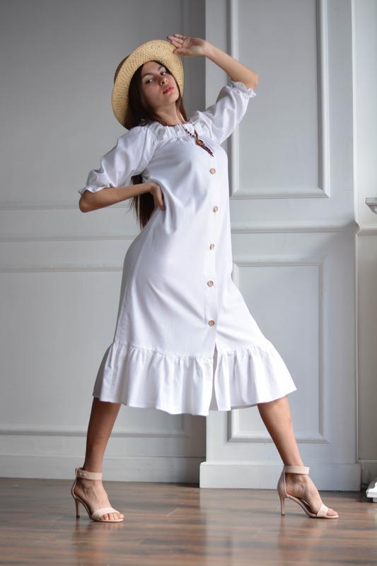 Белое летнее льняное платье с открытыми плечами LINEN OPEN SHOULDER DRESS