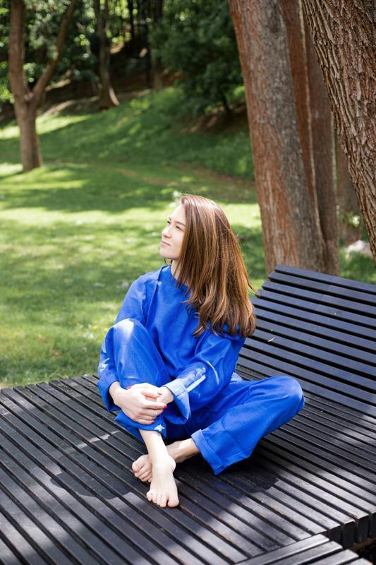 Льняной костюм для дома, костюм для отдыха, прогулочный костюм,пижама со штанами