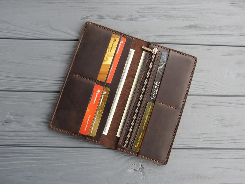 Мужской кожаный кошелек-клатч, большое вместительное мужское портмоне из кожи_шоколад