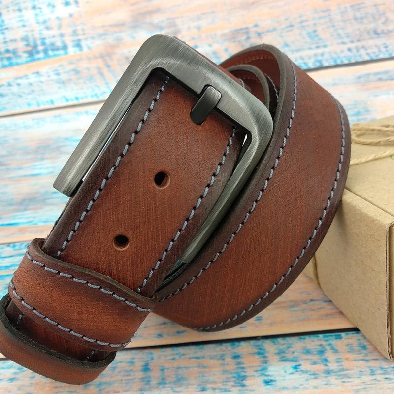 Ремень мужской кожаный SF-4011 brown (130 см)