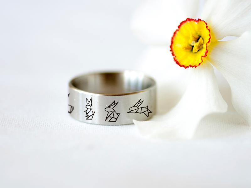 Широкое кольцо с гравировкой оригами зайцев, ювелирная сталь