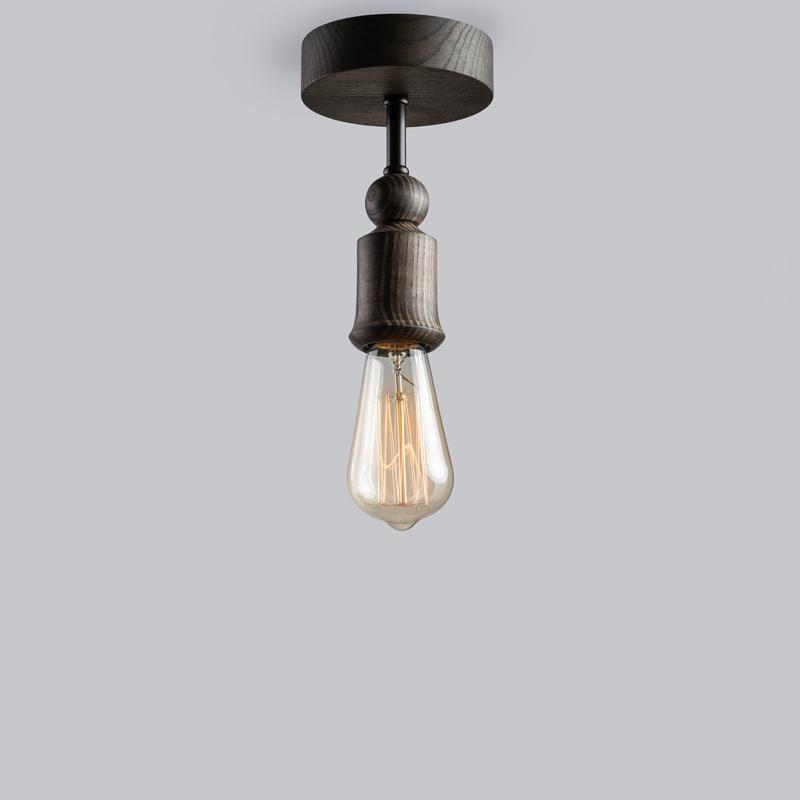 светильник потолочный из массива ясеня и металла SPUTNIK