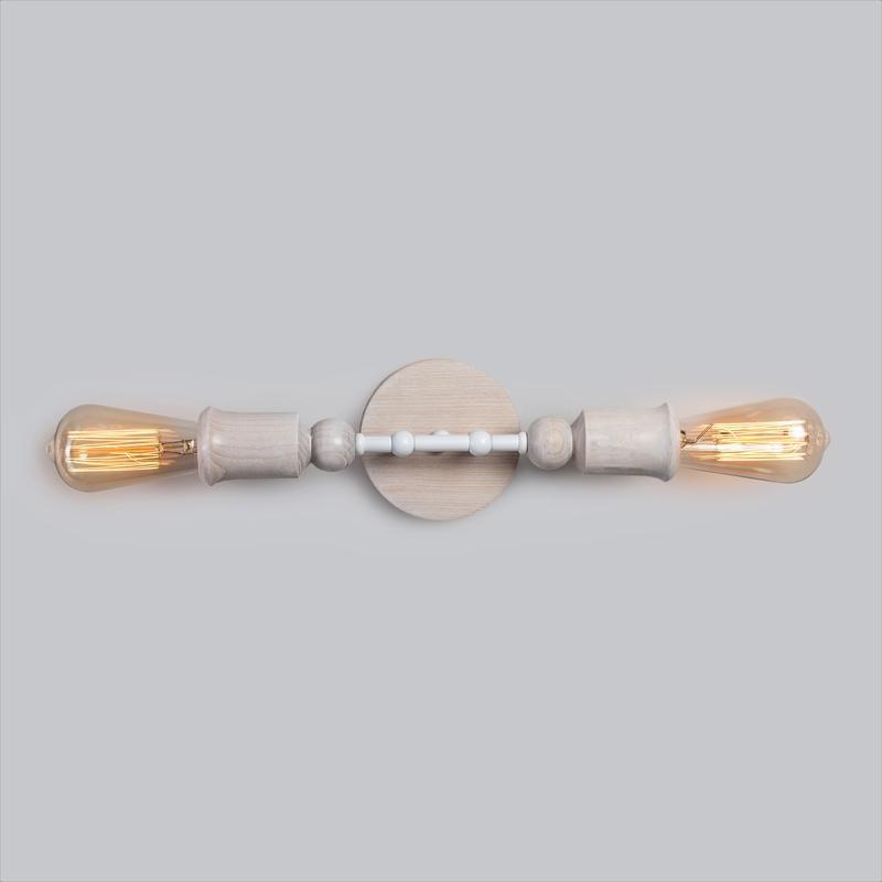 Бра белый настенный светильник Sputnik 2 в стиле лофт, металл и ясень